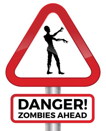 peligro: Ilustraci�n de la advertencia del peligro potencial de zombis por delante en una se�al de tr�fico roja. Vectores