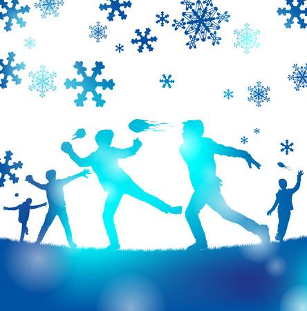 palle di neve: Illustrazione astratta di un giovane giocare un grande gioco di combattimento a palle di neve attraverso una nebbia di freddo sfocature blu.