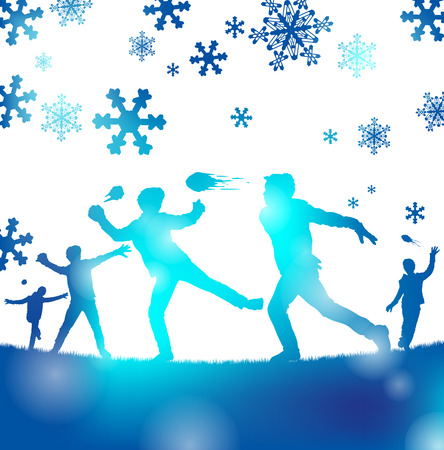 Abstract illustration of a Young playing a great game of snowball fighting through a haze of Cool Blue blurs. Vectores
