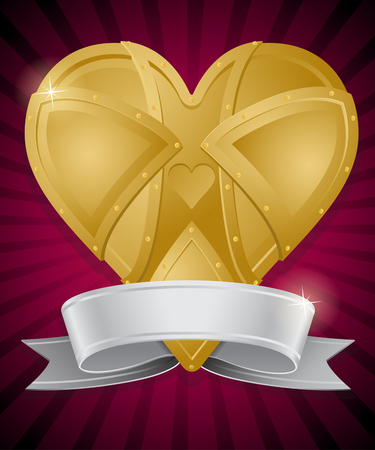 Steampunk Style Heart of Gold with Ribbon Banner.
