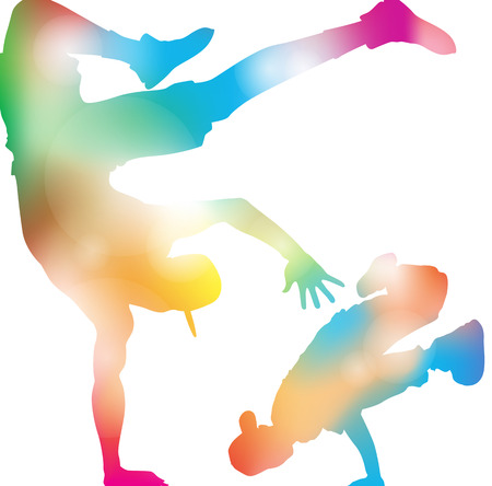Abstract illustration of a Young Men Freestyling and Posing in classic Hip Hop Poses against a cool summer haze of blurs.