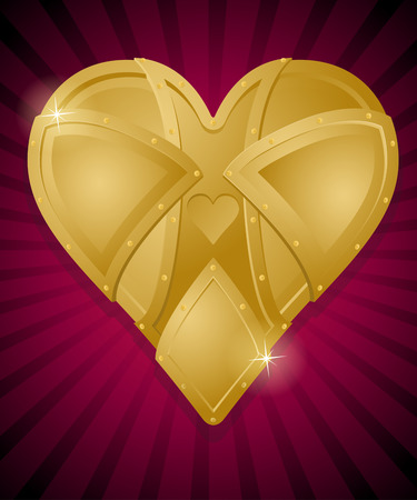 Steampunk Style Heart of Gold. Illustration of a vintage Retro Heart shaped object made form golden metallic plates and rivets.