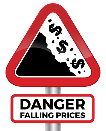 Illustration depicting falling prices represented by tumbling dollar signs crashing down a cliff on a red road sign. Vectores