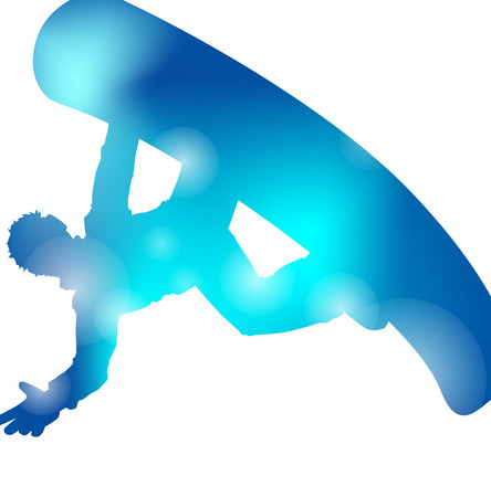 Abstract illustration of a Young Man Jumping and Freestyling on Snowboard through a haze of Cool Blue blurs. Vectores