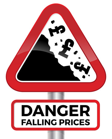 rockslide: Illustration depicting falling prices represented by tumbling UK Pound signs crashing down a cliff on a red road sign.
