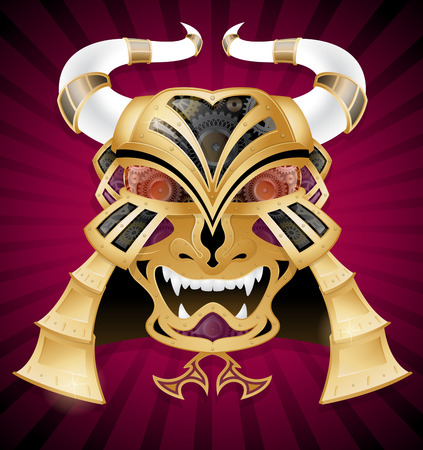 Steampunk Style Samurai Warrior Face Mask. in Metal, Gold and Cogs. Illustration of a Retro Samurai Warrior Face Mask. shaped object made form golden metallic plates, Glass and rivets Vectores