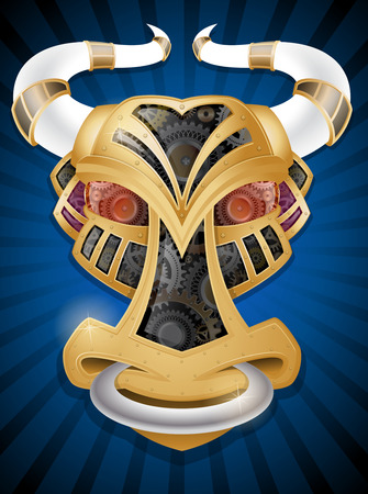 Steampunk Style Bull's Head in Metal, Gold and Cogs. Illustration of a vintage Retro Bull's Head shaped object made form golden metallic plates, Glass and rivets