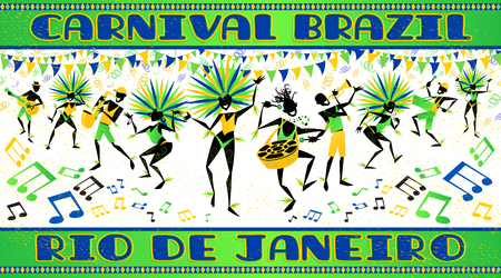 Brazil carnival poster with beautiful brazilian girls and Salsa band of musicians in costume dancing samba in this versatile vector illustration.