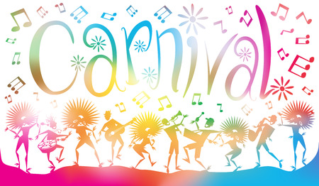 Colorful abstract illustration of Young People dancing and Leaping through a haze of musical notes and summer blurs.