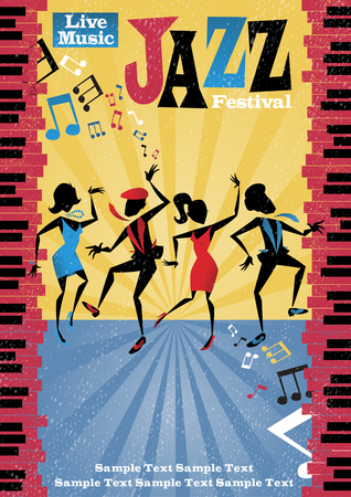 performance art: Retro styled Jazz festival Poster featuring an Abstract style illustration of a vibrant group of Jazz dancers. Illustration