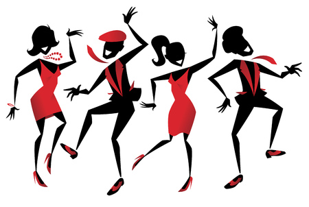 Illustration of a group of energetic Retro styled Jazz dancers. Vectores