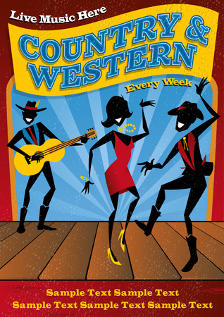 Illustrated poster for a Country and Western music club night.
