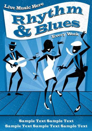 Illustrated poster for a Rhythm and Blues music club night.