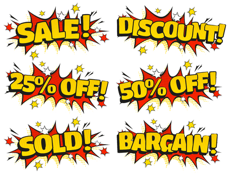 Comic Style speech bubbles with Retail Sale related text in retro pop art style isolated on white background. Ilustracja