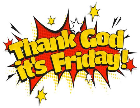 Comic Style speech bubble met dank God zijn vrijdag tekst in retro pop art stijl geïsoleerd op een witte achtergrond.