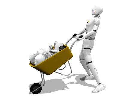 Crash test dummy carring other destroyed dummy in a wheelbarrows over a white background Stock Photo - 738047