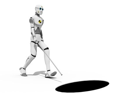 Blind crash test dummy walking toward a hole in the floor over a white background