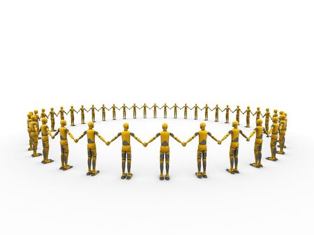 Crash test dummies making a circle over a white background Stock Photo - 748360