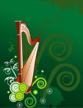 arpa musical del vector del instrumento