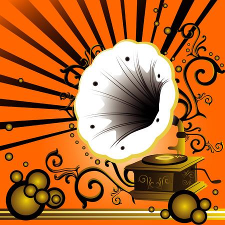 grammofono grunge sfondo composizione vettoriale 2d arte  Vettoriali