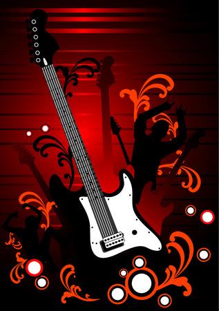 vector composition graffiti modern 2d black guitar Stock Vector - 2940088