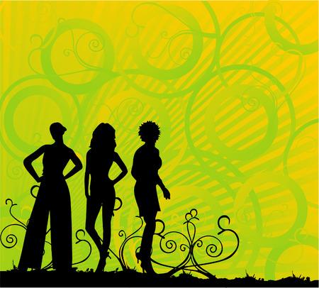 lady vector composition teens dance fashion club