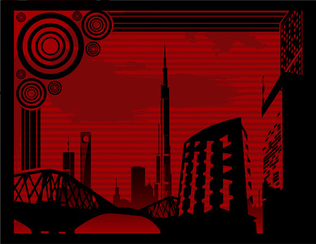 buildings abstract vector composition 2d cool city