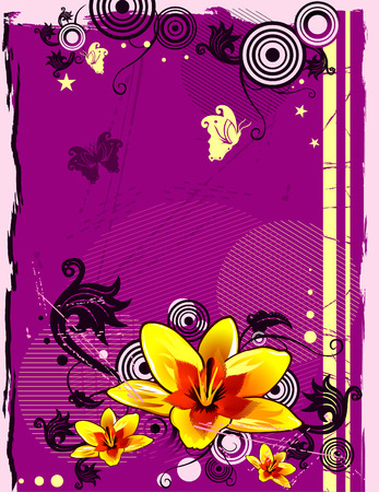 vector illustration of orange flowers with pink background Stock Vector - 3135931