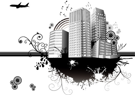 vector illustration of white city with white background