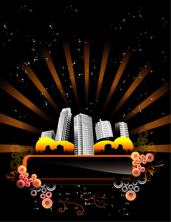 vector illustration of night city with dark background
