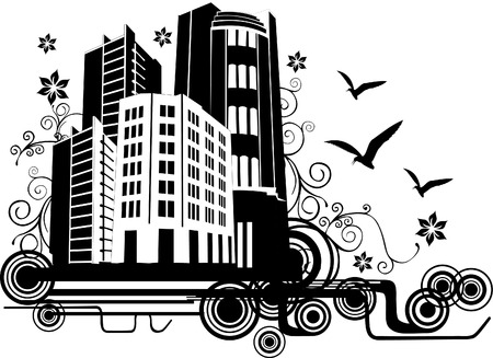 vector illustration of nature city with white background