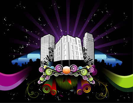 vector illustration of night city with cool background Illusztráció