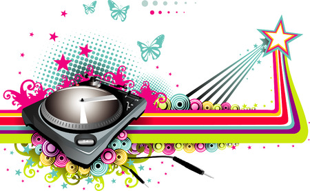 dj vector composition 2d mixer floral dance