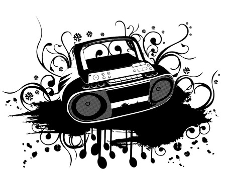 vector illustration of black and white stereo