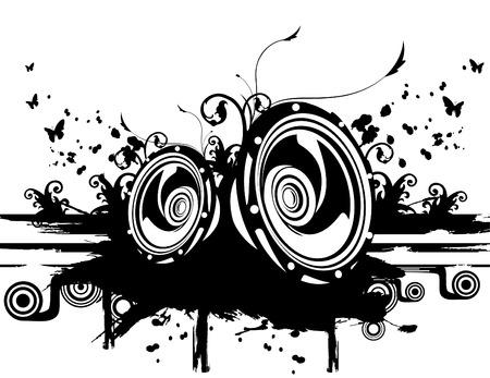 illustrazione vettoriale di altoparlanti in bianco e nero