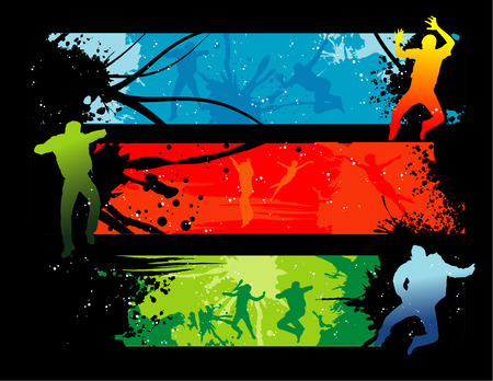 vector illustration of fashion teens with cool background Stock Vector - 3420025