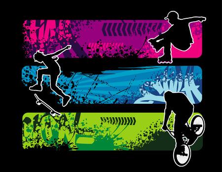 illustrazione vettoriale di fresco e sport estremi