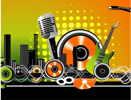 vector illustration of music elements with cool background Ilustração
