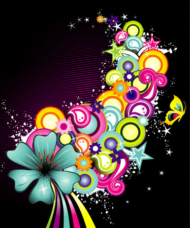 vector illustration of colorful flowers with white background