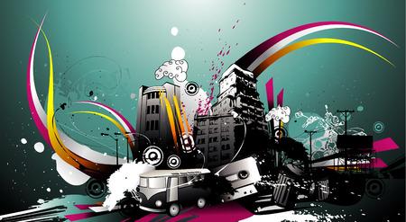 vector illustratie van kleurrijke stad en coole achtergrond