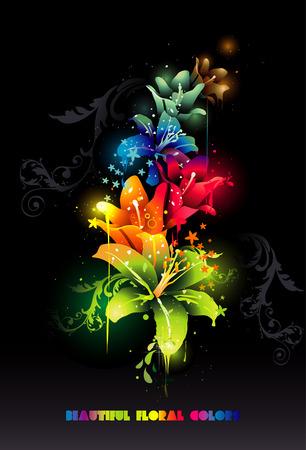 2D de composición de vector, de hermosas flores de luz
