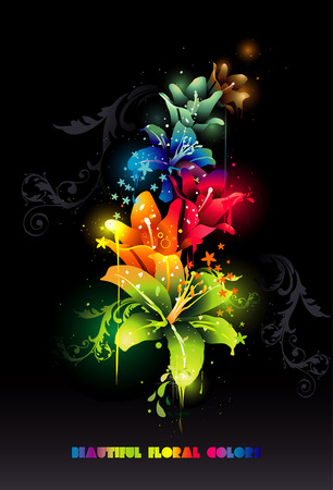 2d vector composition of beautiful light flowers