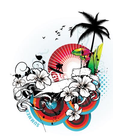 ilustración vectorial floral de verano