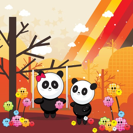 panda bear cartoon vector