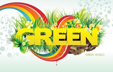 green vector illustration Stock Vector - 9122788