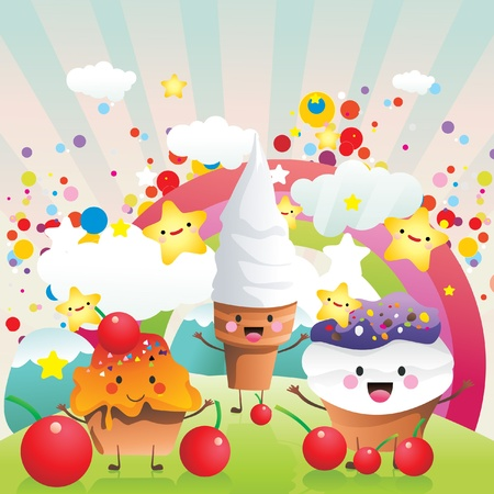 candies and ice cream vector Illustration