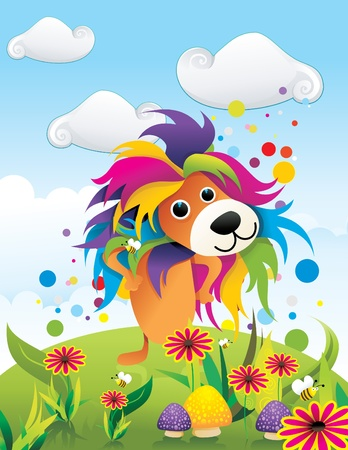 color lion abstract vector Illustration