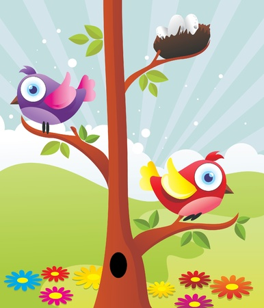 birds in a tree vector illustration