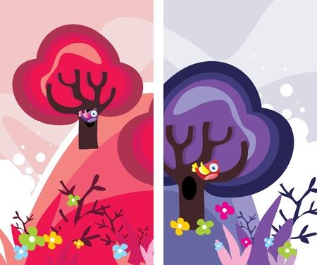 trees abstract vector illustration Ilustração