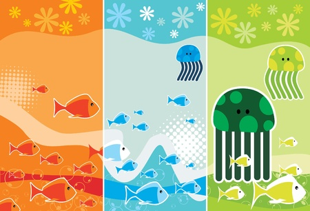 cartoon sea animals Illustration